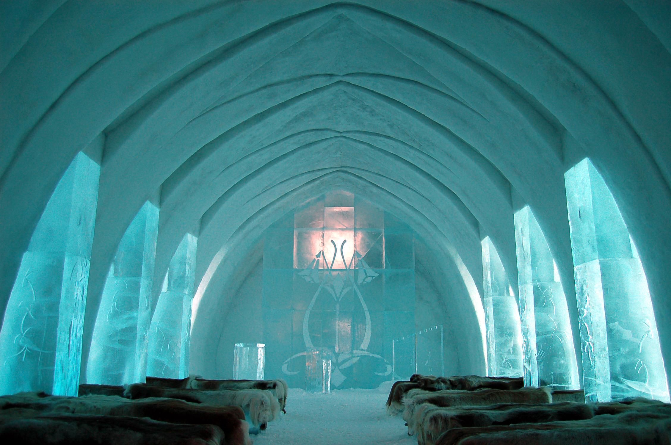 Sala w lodowym hotelu