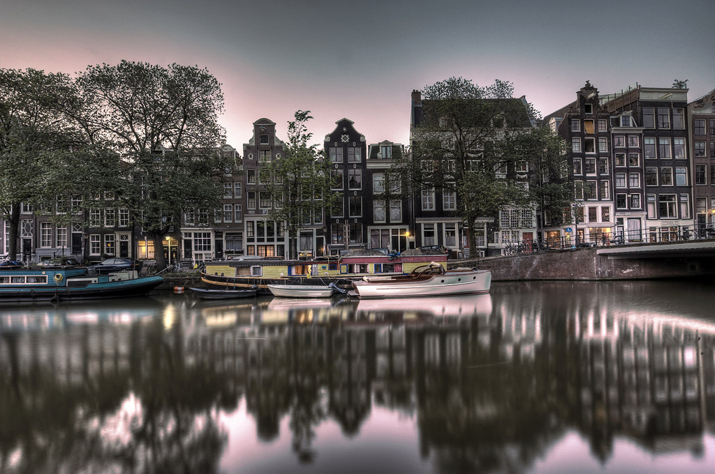 Twilight Over Singel Canal - A-dam Amsterdam, Netherlands